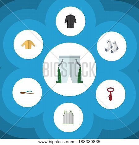 Flat Clothes Set Of Singlet, Trunks Cloth, Beach Sandal Vector Objects. Also Includes Flop, Necktie, Man Elements.