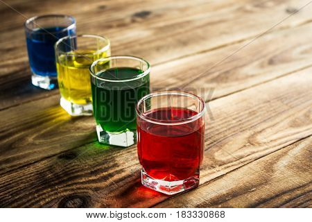 Blue Yellow Green Red Alcohol Shot Drinks