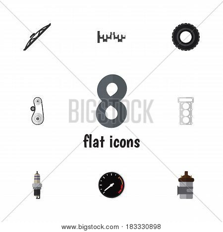 Flat Auto Set Of Cambelt, Packing, Windshield And Other Vector Objects. Also Includes Windshield, Auto, Speed Elements.