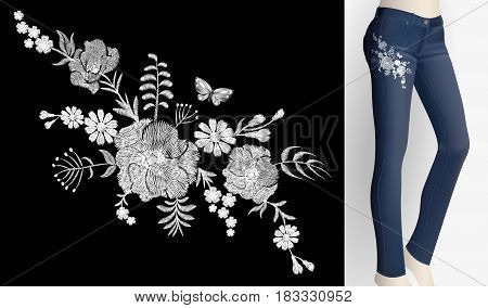 Embroidered white flower patch rose poppy daisy herbs. Women slim jeans pair decoration floral ornament print embroidery. Vintage fashion trendy design vector illustration art