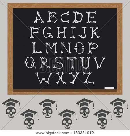 Bones Alphabet vector. Student skeleton and blackboard.
