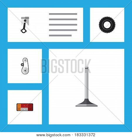 Flat Auto Set Of Headlight, Cambelt, Conrod And Other Vector Objects. Also Includes Valve, Taillight, Cambelt Elements.