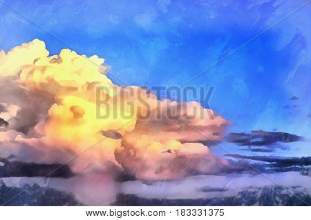 Clouds over the sea seascape sunset atmosphere colorful painting