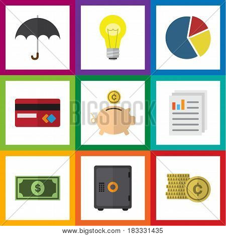 Flat Exchequer Set Of Document, Bubl, Parasol And Other Vector Objects. Also Includes Coin, Money, Mastercard Elements.
