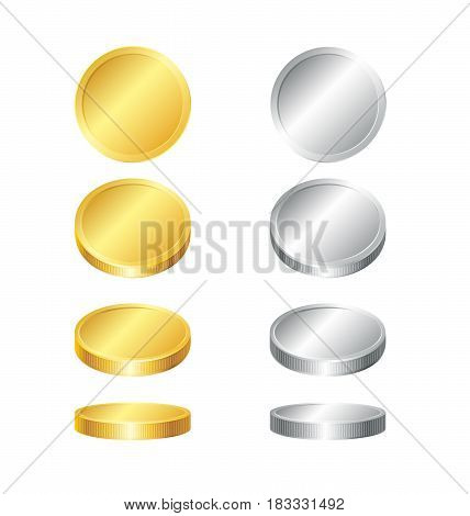 Gold and silver coins collection. Four different variants of perspective.