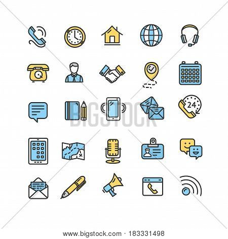 Contact Us Icon Color Thin Line Set Call Service for Web and App Isolated on White Background. Vector illustration