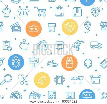 Ecommerce Online Service Pattern Background Design Style and Color Outline Icons Web Shopping. Vector illustration