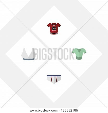 Flat Garment Set Of Casual, Brasserie, T-Shirt And Other Vector Objects. Also Includes Shirt, Sport, Uniform Elements.