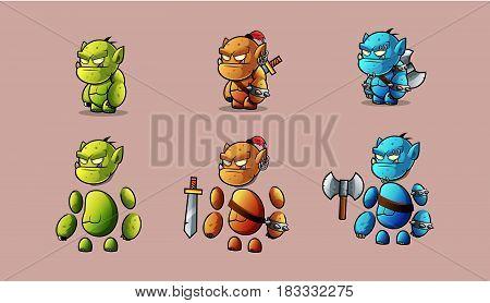 Mini Character  warrior stone monster kit.  Vector Illustration.