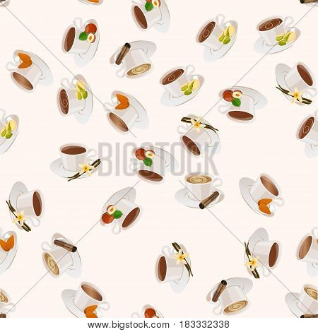 Very high quality original trendy vector seamless pattern with hazelnut, almonds, pistachio and cinnamon hot chocolate cup