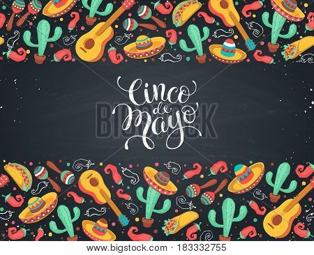 Cinco de Mayo poster  in horizontal stripe composition. Mexican culture symbols collection. Guitar, sombrero, maracas, cactus and jalapeno isolated on white background. Cinco de Mayo greeting card.