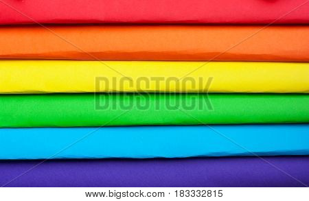 the symbol of LGBT. The colors of the rainbow. Multicolored paper