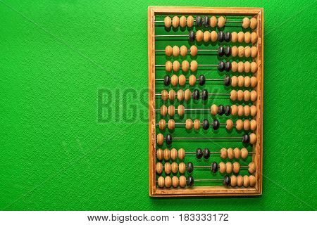 Vintage wooden abacus hangs on green wall