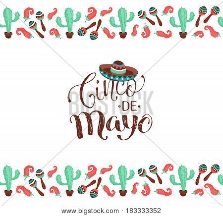 Cinco de Mayo banner in horizontal stripe composition. Mexican culture symbols collection. Sombrero, maracas, cactus and jalapeno isolated on white background.