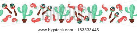 Cinco de Mayo objects in horizontal stripe composition. Mexican culture symbols collection. Sombrero, maracas, cactus and jalapeno isolated on white background. National Mexico attributes banner.