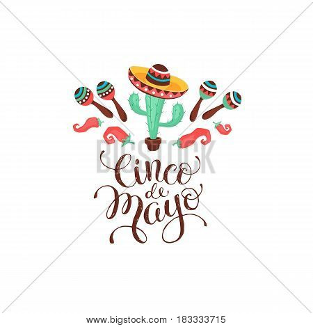 Cinco de Mayo composition. Poster with Mexican culture symbols and text. Guitar, sombrero, maracas, cactus and jalapeno isolated on light background.