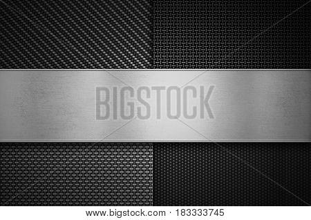 Four types of modern carbon fiber with polish metal plate on center texture material design for graphic design