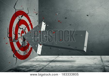 3d volumetric arrow crush into the red target on the concrete wall in corner of the room. Cracks on the wall and flying particles. Concrete interior 3d rendering.