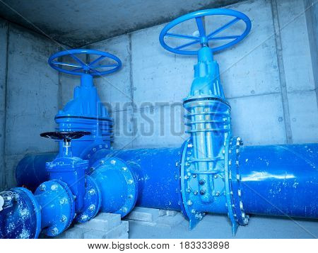 City Water Pipeline, Water Supply Company. Underground Concrete Shaf