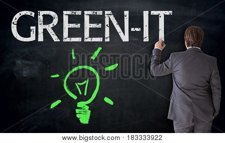 Businessman Is Painting Lightbulb And Green It On Blackboard Concept