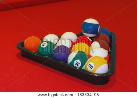 Billiard Balls in Triangle on the Red Table