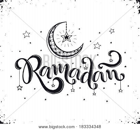 Ramadan text isolated on white background. Hand drawn calligraphy.  Crescent and stars with Ramadan wording in sketch style.