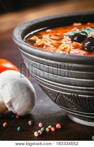 Traditional Russian Soup Solyanka
