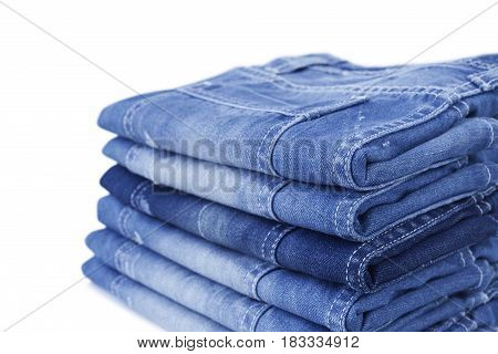 Close up of blue jean isolated on white background