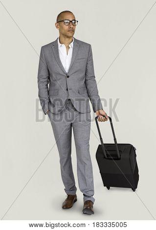 Businessman Passenger Traveling Vacation Suitcase Concept
