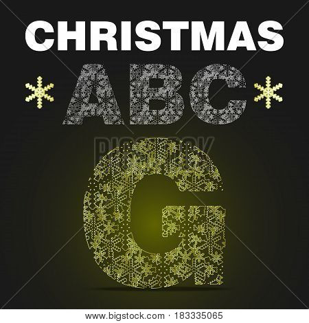 The alphabet letter G from gold snowflakes. Vector christmas abc on black background with yellow light