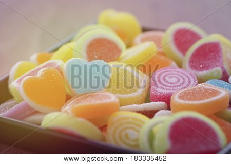 Jelly sweet candy flavor fruit dessert colorful focus at heart shape and concept in valentine's day for love