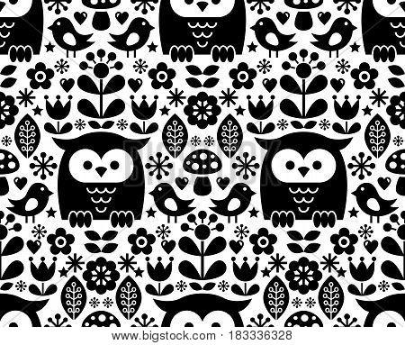 Scandinavian seamless pattern, Nordic folk art - inspired by traditional Finnish and Swedish designs