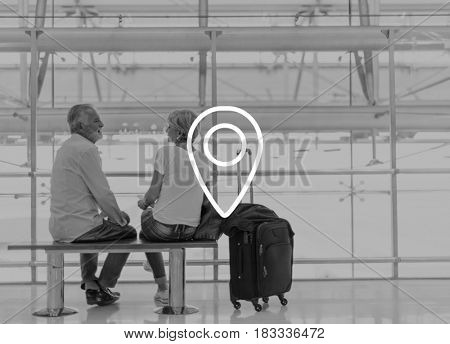 Pin Point Tag Direction Location Senior Travel Graphic