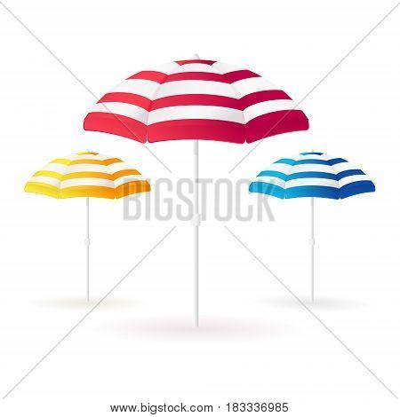Beach sun umbrellas collection. Open colorful parasols. Vector illustration.