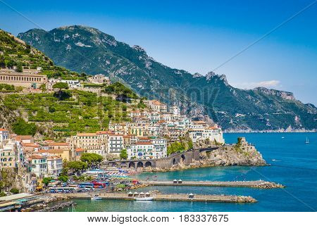 Postcard View Of Amalfi, Amalfi Coast, Campania, Italy