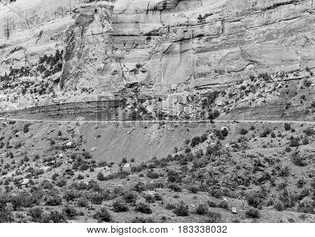 Cliff And Road In Monochrome