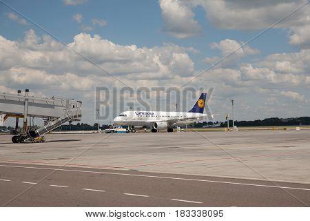 Boryspil Ukraine - July 5 2014. Lufthansa Airbus A319 preparing for the next flight