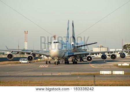Borispol Ukraine - October 2 2011: El Al Boeing 747 passenger planes parked on the apron waiting for the passengers