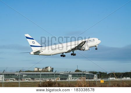 Borispol Ukraine - October 2 2011: El Al Boeing 767 passenger plane is taking off from the airport into blue clear sky
