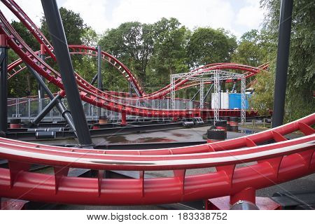 roller coaster out of use in a theme park