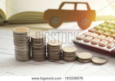 pile of coins concept in loan finance selling and buying car
