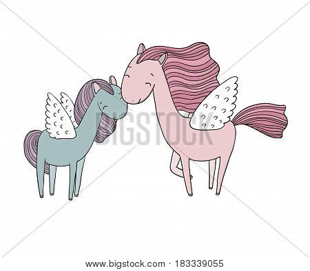 Beautiful pegasus. A horse with wings. isolated objects on white background. Vector illustration.