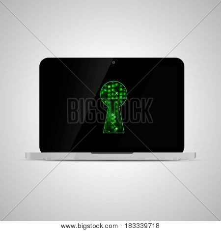 Realistic glossy laptop with matrix code in keyhole shape. Computer security concept illustration.