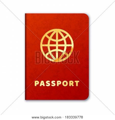 Realistic foreign passport icon with red cover and golden letters isolated on white