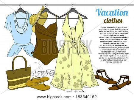 Vector illustration of drawing Summer woman clothes on hangers. Natural, trendy color. Coordination for girl. Isolated doodle objects. Template brochure