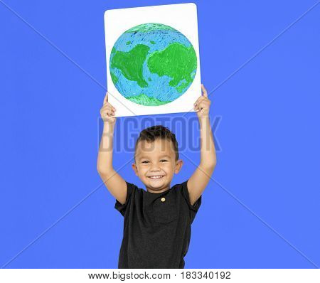 Little Boy Holding Global Paper Board Studio Portrait