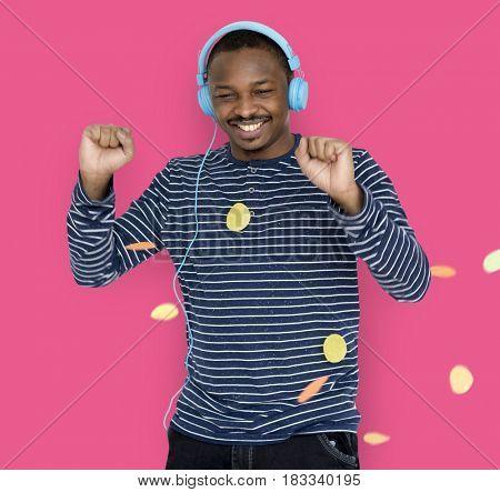 African Man Smiling Happiness Music Entertainment Studio Portrait