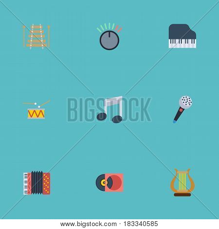 Flat Karaoke, Octave Keyboard, Tambourine And Other Vector Elements. Set Of Music Flat Symbols Also Includes Retro, Tambourine, Musical Objects.