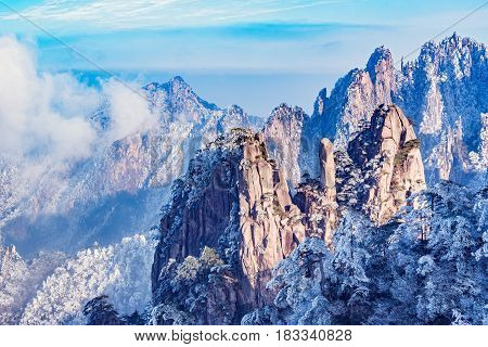 Sunset view of Huangshan National park. China.
