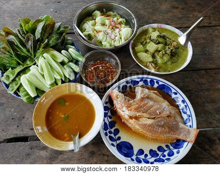 Traditional Lunch Cuisine Food Set Of Southern Thai Style And Boiled Seafood